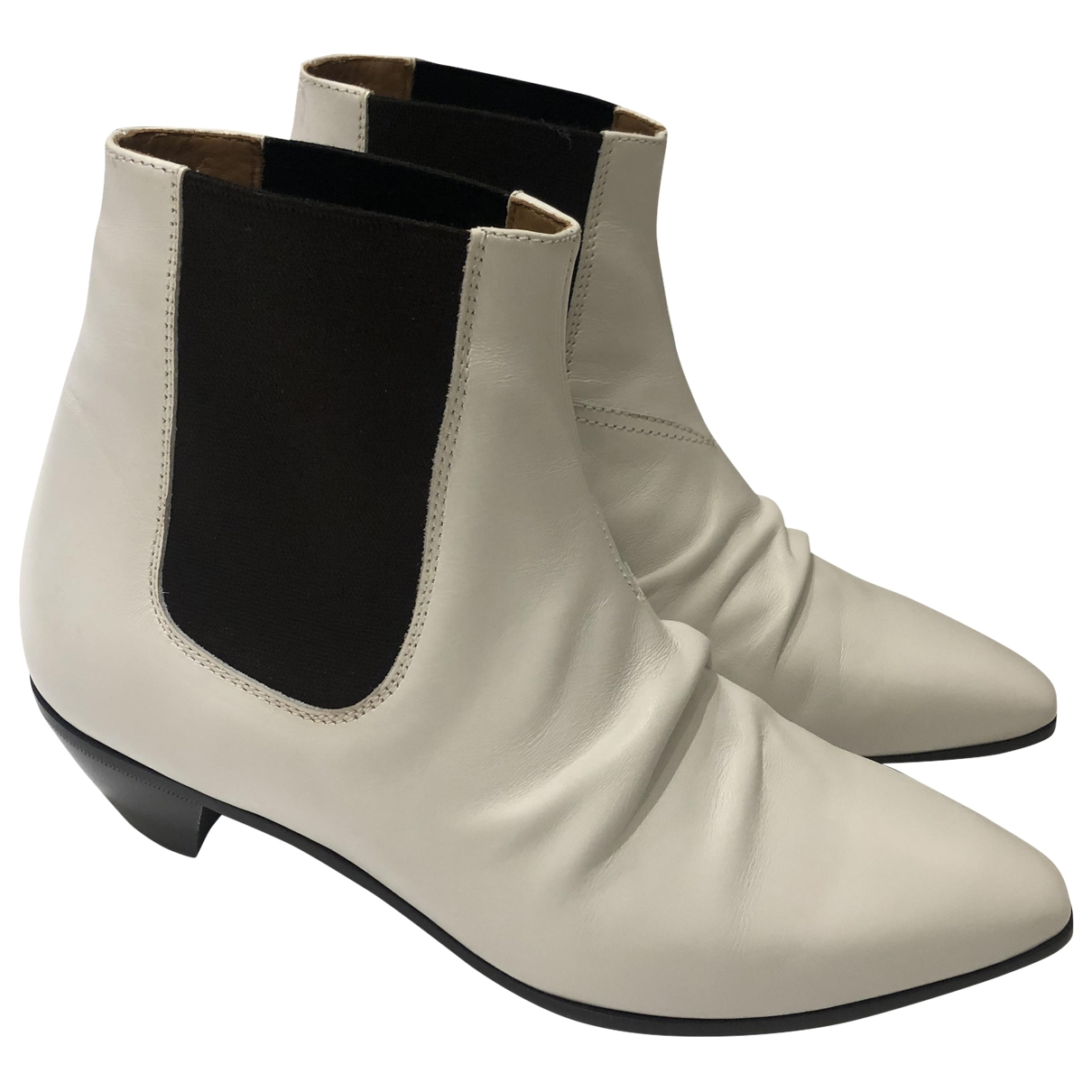 Celine \N White Leather Ankle boots for Women 38.5 EU