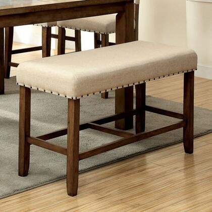 Melston II CM3531PBN Counter Ht. Bench  with Transitional Style  Fabric Upholstered Chair with Nailhead Trim  Solid Wood  Wood Veneer and Others