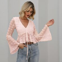 Double Crazy Swiss Dot Ruched Ruffled Crop Top