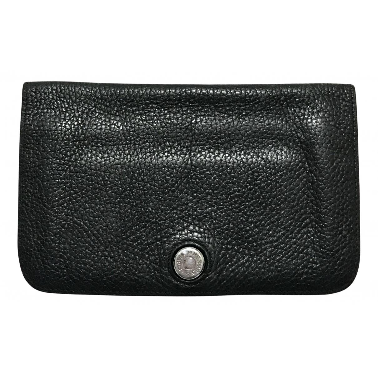 Hermès Dogon Black Leather Purses, wallet & cases for Women N