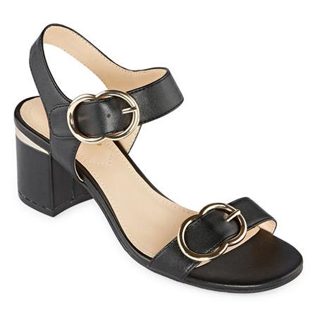 Liz Claiborne Womens Lanza Heeled Sandals, 8 1/2 Medium, Black