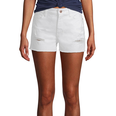 Arizona Womens High Rise Shortie Short-Juniors, 7 , White