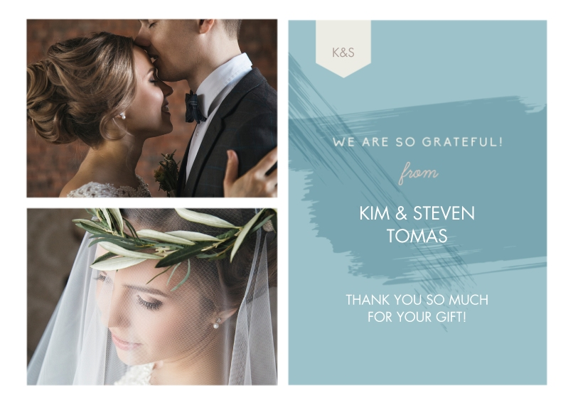 Wedding Thank You Flat Matte Photo Paper Cards with Envelopes, 5x7, Card & Stationery -Paint Thank You Wedding Set