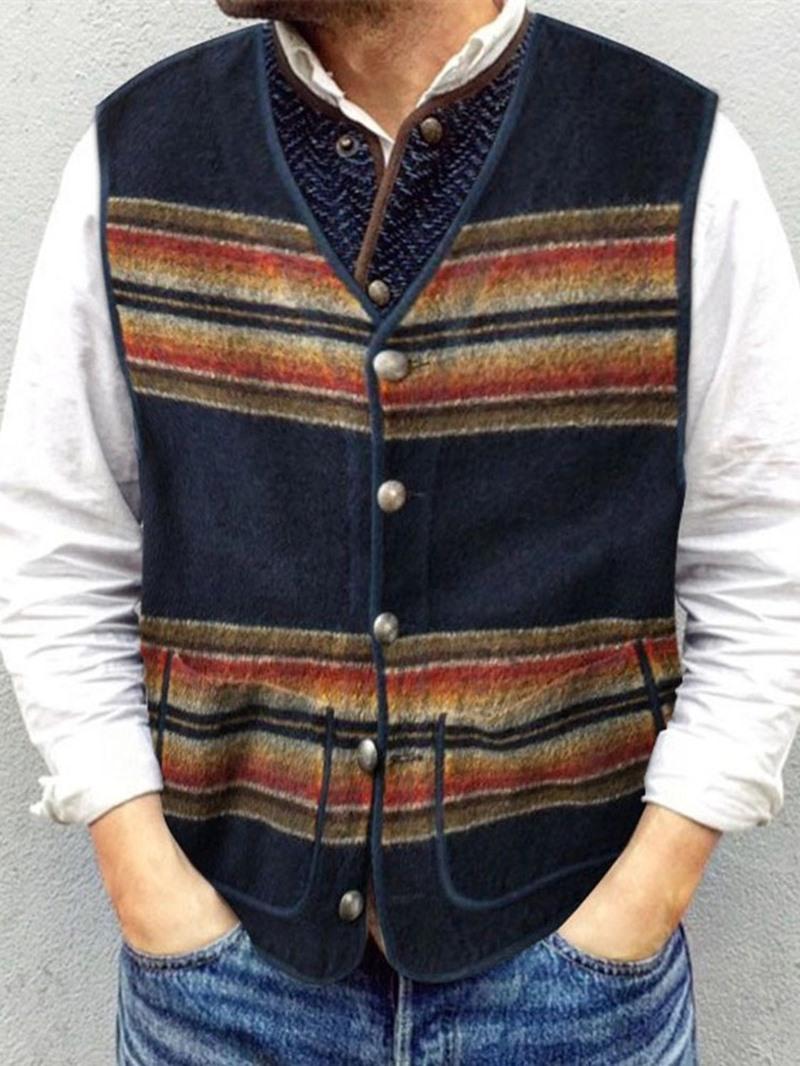 Ericdress V-Neck Pocket Stripe Spring Single-Breasted Waistcoat