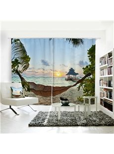 Seaside Cradle Sunset Pattern 3D Polyester Curtain