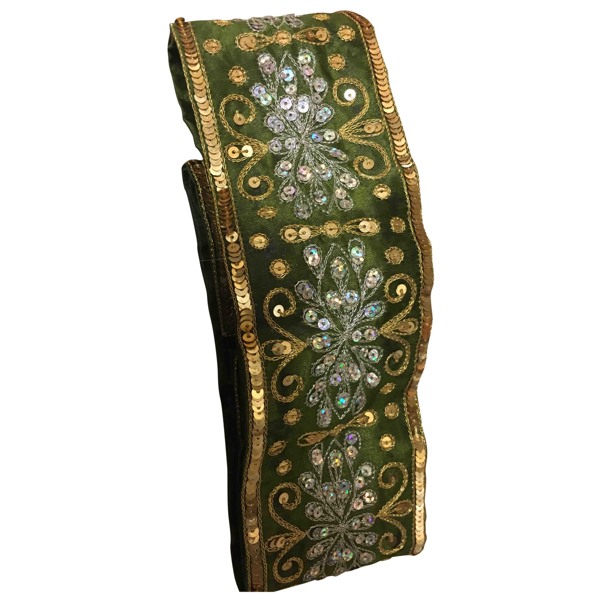 Non Signé / Unsigned Hippie Chic Green Silk belt for Women 80 cm