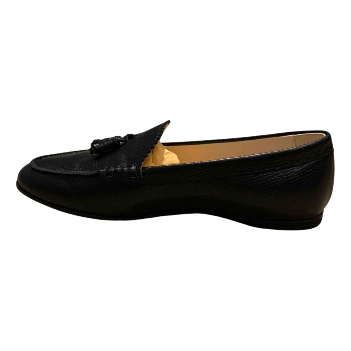 Tod's \N Black Leather Flats for Women 35.5 EU