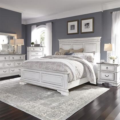 Liberty Furniture 520-BR-QPBDMCN 5 Piece Bedroom Set with Queen Size Panel Bed  Dresser and Mirror  Chest  Nightstand in Wire Brushed Antique White