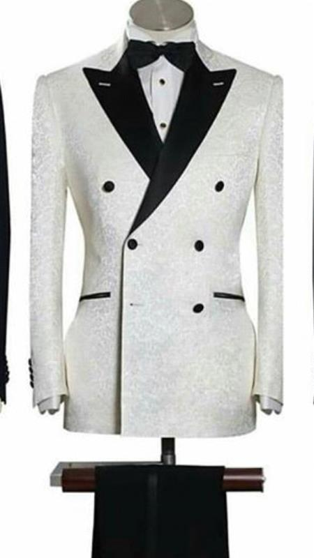 Men's Alberto Nardoni White & Black Floral ~ Paisley Tuxedo Mens Din
