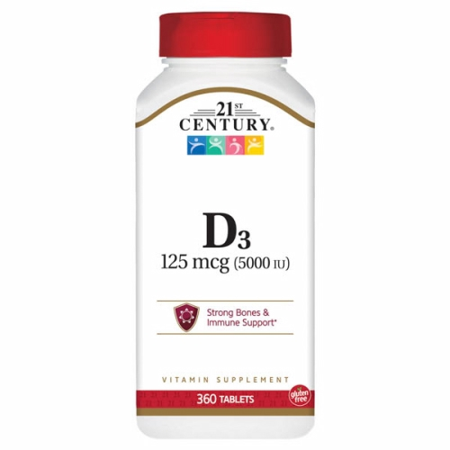 Vitamin D3 5000IU 360 Tabs by 21st Century