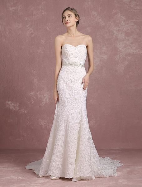Milanoo Vestido de novia de sirena Con cola cintura natural sin mangas de silueta sirena