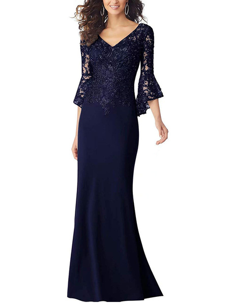 Milanoo Party Dress For Mother Of The Bride V Neck 3/4 Length Sleeves Mermaid Applique Wedding Guest Dresses