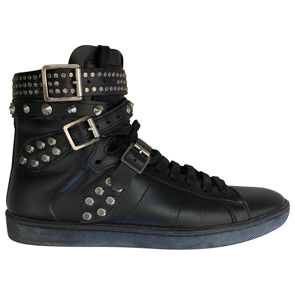 Saint Laurent \N Black Leather Trainers for Women 36 EU