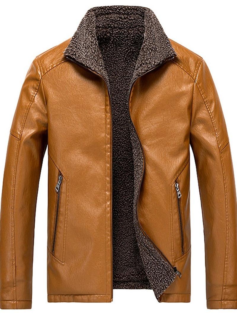 Ericdress Lapel Standard Slim Men's Leather Jacket