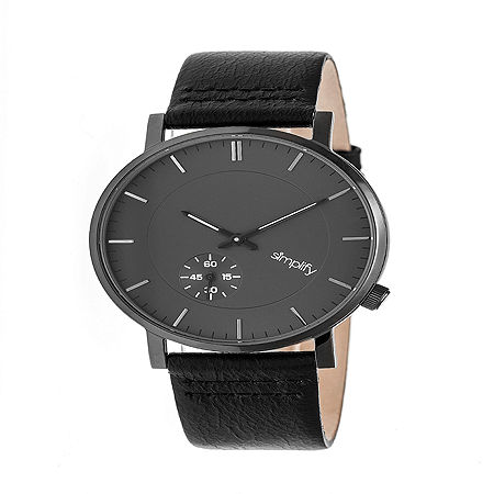 Simplify Mens Black Leather Strap Watch-Sim3604, One Size , No Color Family
