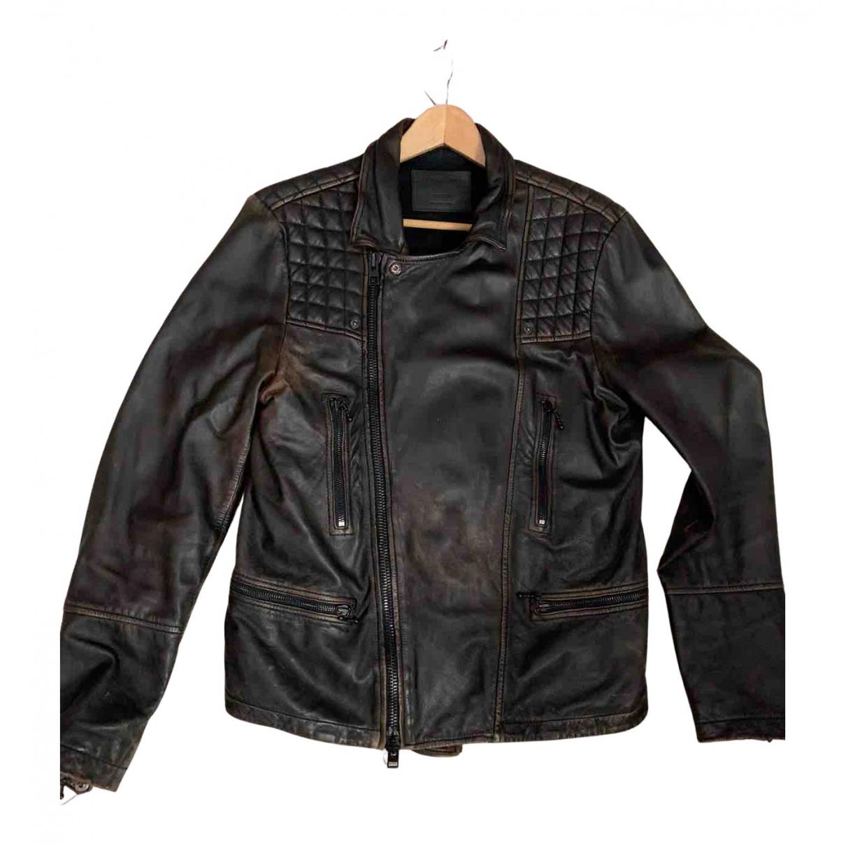 All Saints N Brown Leather jacket  for Men M International
