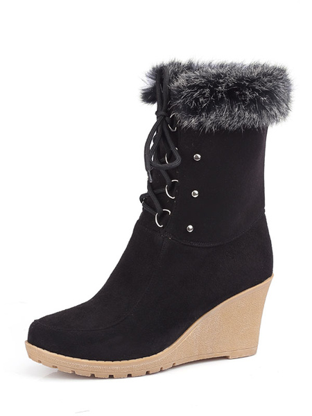Milanoo Black Ankle Boots Suede Round Toe Fur Detail Lace Up Winter Boots Women Wedge Booties