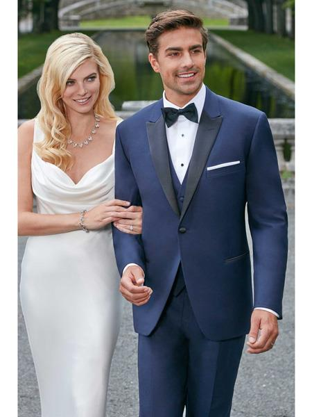 Mens Black Peak Lapel Modern Slim Fit Navy Wedding Tuxedo