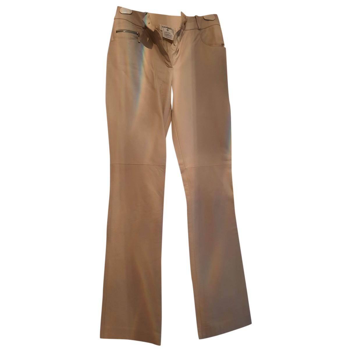 Chanel \N Ecru Leather Trousers for Women 36 FR