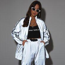 Reflektierende Jacke mit Reissverschluss, Streifen und seitlichem Band