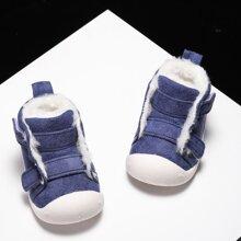 Baby Boy Faux Fur Lined Velcro Strap Sneakers