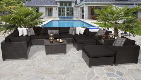 Belle Collection BELLE-13a-BLACK 13-Piece Patio Set 13a with 3 Corner Chair   4 Armless Chair   2 Ottoman   2 Coffee Table   2 Club Chair - Wheat and