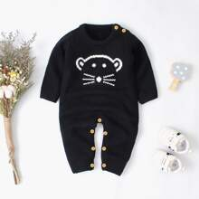 Baby Boy Cartoon Pattern Button Ribbed Jumpsuit