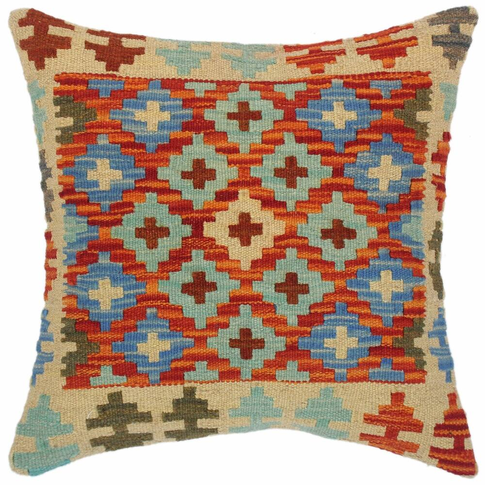 Boho Chic Geneva Hand-Woven Turkish Kilim Throw Pillow 18 in. x 18 in. (Accent - 18 in. x 18 in. - Polyester - Rust - Single)