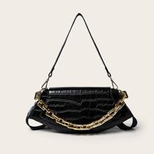 Croc Embossed Chain Shoulder Bag