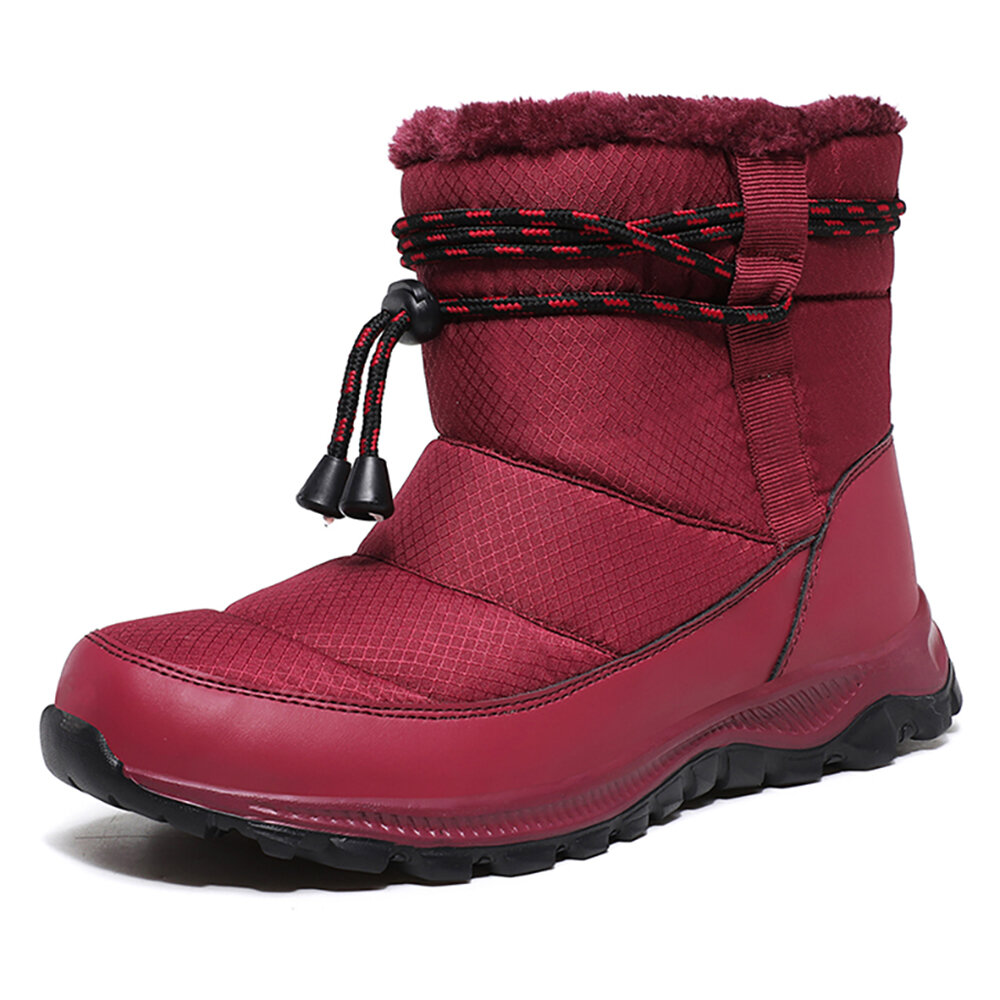 Women Warm Fur Lining Slip Resistant Soft Sole Winter Snow Boots