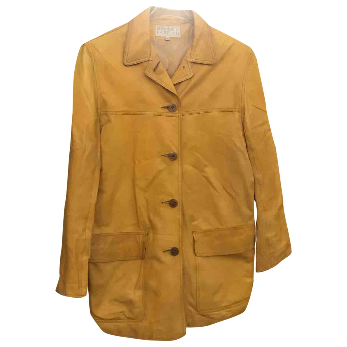 Non Signé / Unsigned Oversize Yellow Leather jacket for Women M International