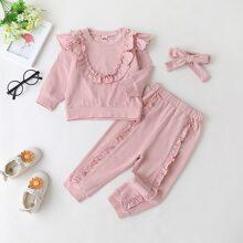 Baby Girl Solid Ruffle Trim Sweatshirt & Sweatpants & Headband