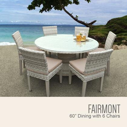 FAIRMONT-60-KIT-6C-WHEAT Fairmont 60 Inch Outdoor Patio Dining Table with 6 Armless Chairs with 2 Covers: Beige and