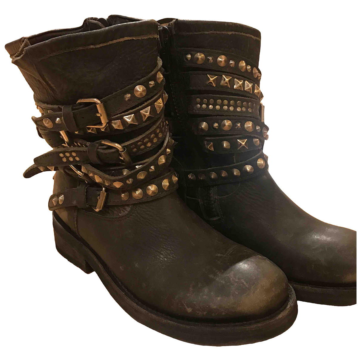 Ash N Black Leather Ankle boots for Women 38 EU