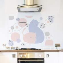 1pc Cat Print Oil-proof Wall Sticker