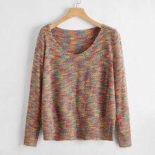 V Neck Space Dye Sweater