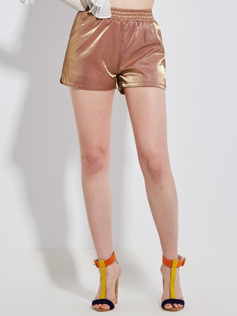Loose Mid-Waist Elastics Plain Shorts