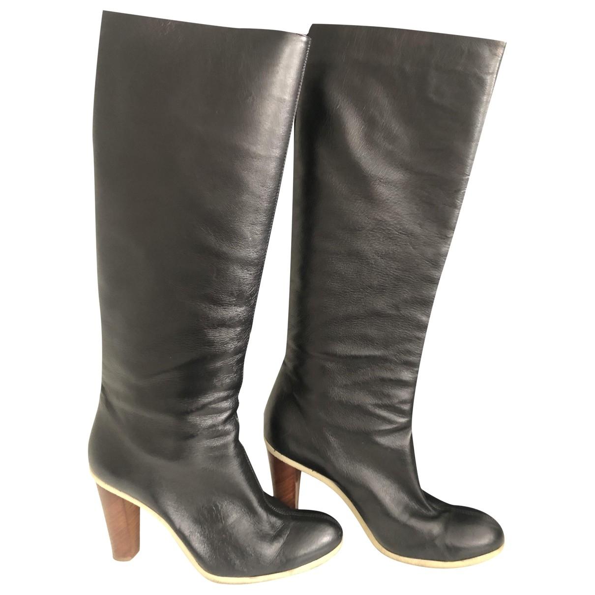 Jil Sander - Bottes   pour femme en cuir - noir