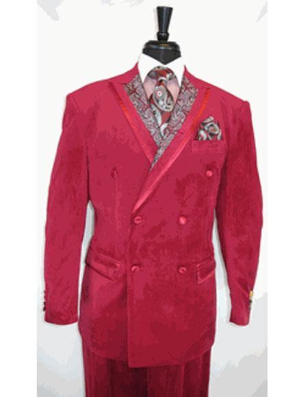 Men's Paisley Double Breasted Burgundy Peak Lapel Velvet Suit