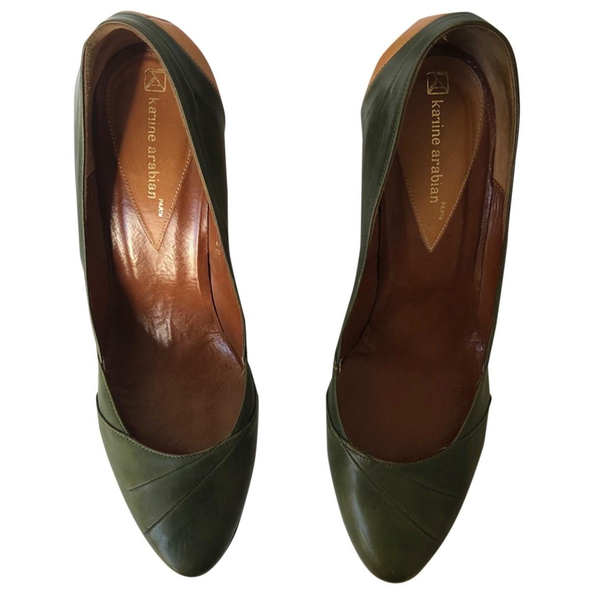 Karine Arabian \N Green Leather Heels for Women 41 EU