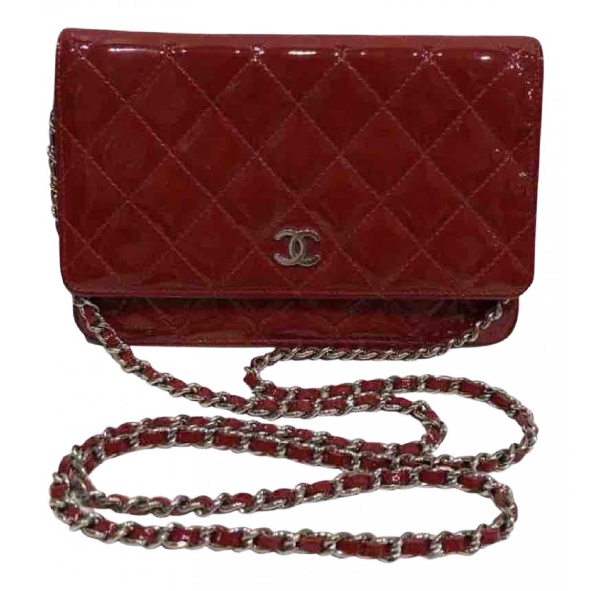 Chanel - Sac a main Wallet on Chain pour femme en cuir verni - rouge