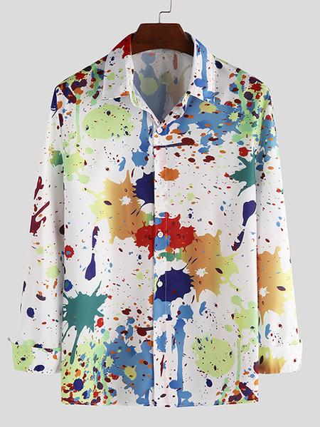 Yoins INCERUN Men Fashion Graffiti Print Casual Long Sleeve Shirt