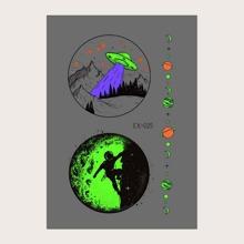 1sheet Luminous Planet Pattern Tattoo Sticker