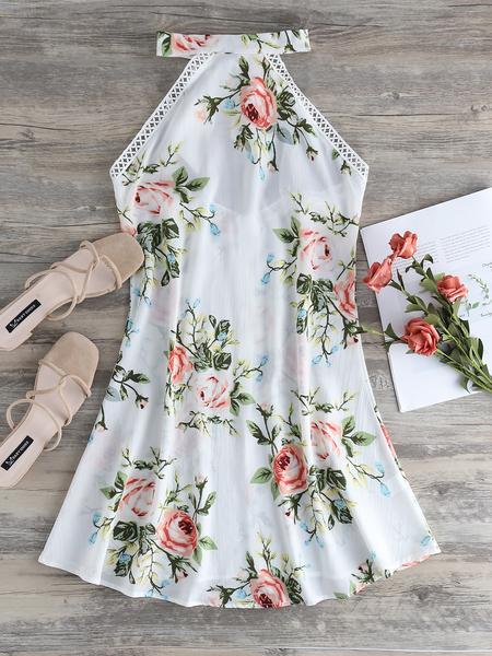 Yoins White Backless Design Floral Print Halter Sleeveless Dress
