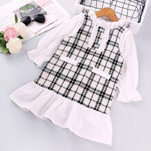 Tweed Kleid mit Kontrast Ärmeln und Rueschenbesatz