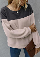 Color Block Long Sleeve Sweatshirt - Dark Grey