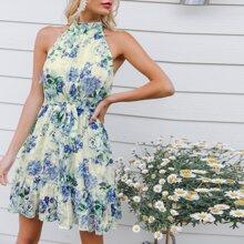 Kleid mit Schosschensaum, Blumen Muster und Neckholder