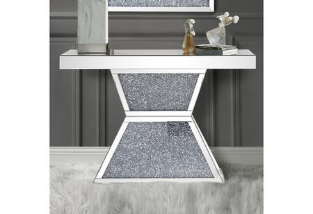Noralie Collection 90497 Console Table  Mirrored Top  Mirrored Pedestal w/Faux Diamonds Inlay & 4mm Clear Tempered Glass  in Mirrored and Faux