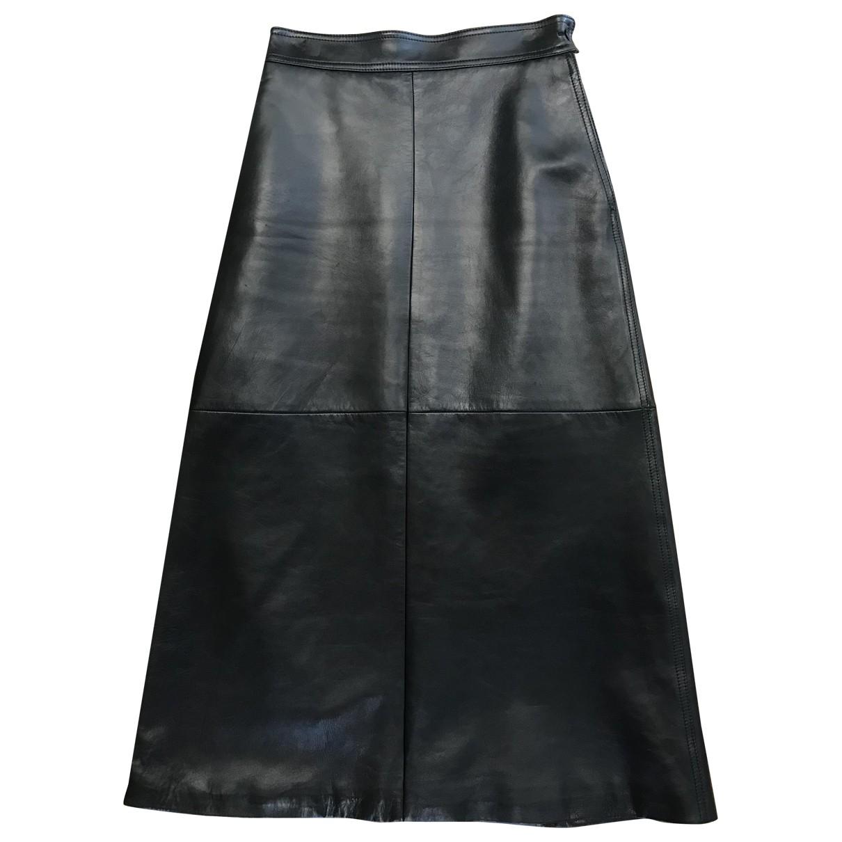 Saint Laurent - Jupe   pour femme en cuir - noir