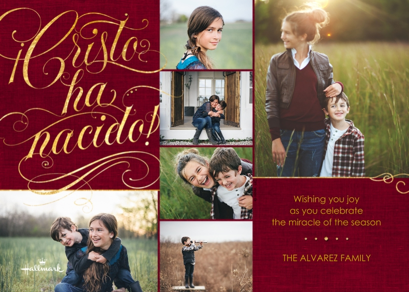 Christmas Photo Cards Flat Matte Photo Paper Cards with Envelopes, 5x7, Card & Stationery -Cristo ha Nacido Collage